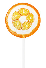 orange lollipop isolated