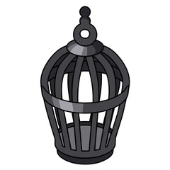 Bird cage isolated illustration