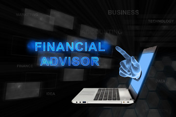 pointing hand financial advisor with digital background