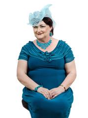 Woman in handmade blue organza hat