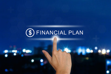 hand pushing financial plan button on touch screen