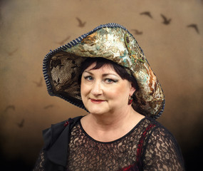Middle aged woman wearing tapestry hat