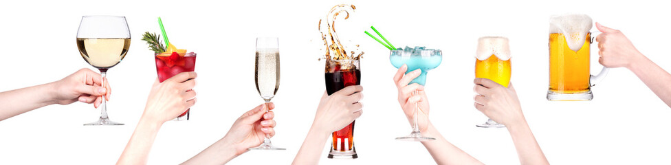 alcohol drinks set making toast