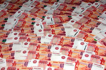 heap of the Russian money notes by dignity 5000 roubles