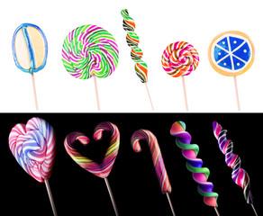 Bright colorful lollipop set