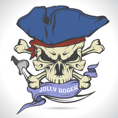Jolly Roger emblem. Pirate. Vector illustration.
