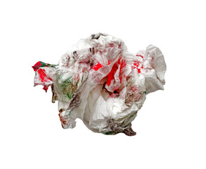 Crumpled dirty tissue paper on white background