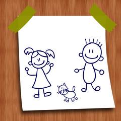 Dessin au stylo : garçon, fille et chaton