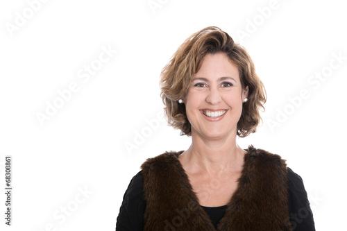 canvas print picture Ältere Frau isoliert - lachend und herbstlich gekleidet