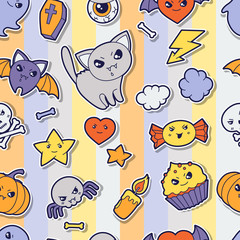 Seamless halloween kawaii pattern with sticker cute doodles.