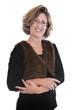 Portrait isoliert: Frau um die 40 - lachend mit Brille
