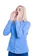 Business Frau isoliert in Blau macht Aufruf: Werbung Konzept