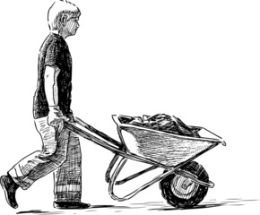Worker with wheelbarrow