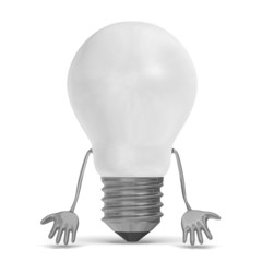 White discouraged tungsten light bulb character