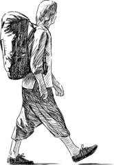 striding tourist