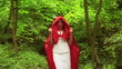 Beautiful mysterious red riding hood walking in forest