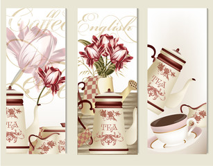 Brochure vector set with vintage tea accesories