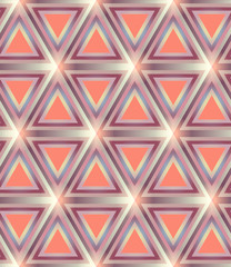 Orange glowing geometric triangle grid seamless background