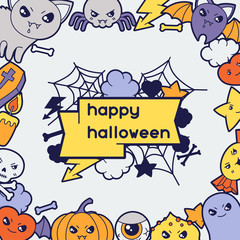 Halloween kawaii greeting card with cute doodles.