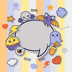 Halloween kawaii greeting card with cute sticker doodles.