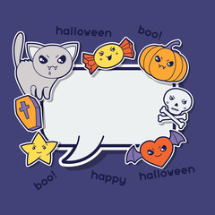 Halloween kawaii greeting card with cute sticker doodles.