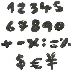 Hand drawn blackened numbers