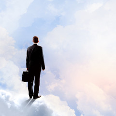Businessman in heaven