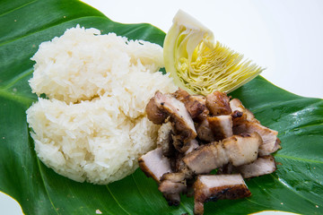 Thai food style, roasted pork with white sticky rice