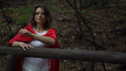 Pensive mysterious woman in the forest, super slow motion,240fps