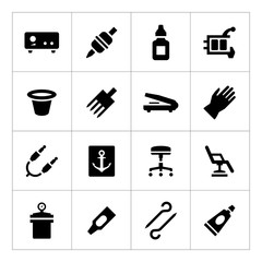 Set icons of tattoo equipment and accessories