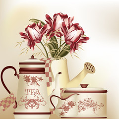 Vintage background with teapot, cup and tulips in pastel tones
