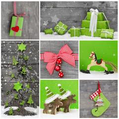 Weihnachten: Dekoration i Rot, Grün, Weiß und Holz