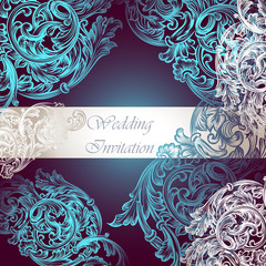 Wedding vector invitation with swirl ornament