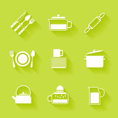 Set of white cutlery and dishes icons.