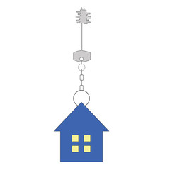 Blue house and key. Raster