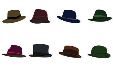 Hats of different colors. Raster