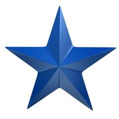 Blue star isolated on white background
