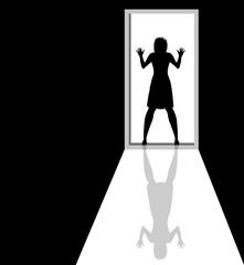 silhouette di donna sorpresa