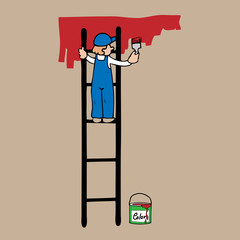 Man on ladder painting