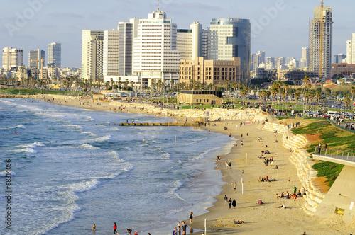 Tel Aviv seashore as seen from Old Jaffa. Israel.
