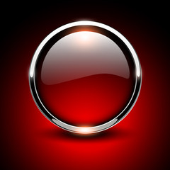 Shiny button, red glossy metallic