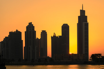 Sonnenuntergang in Dubai Downtown, VAE