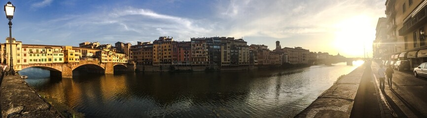 Channel in Florence at a sunset