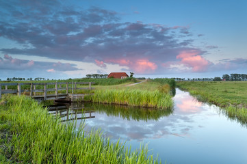sunset over Dutch farmland with river