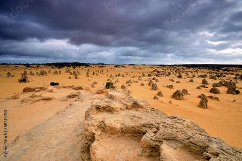 Limestones at Pinnacles Desert in Western Australia - 68315210
