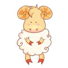 Cute sheep character of chinese new year symbol