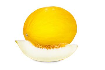 Reife Honigmelone und Melonenstück isoliert