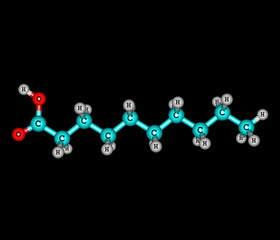 Decanoic (capric) acid molecule isolated on black