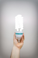 Energy efficient spiral-shaped fluorescent lamp.