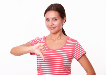 Unhappy young lady with thumb down